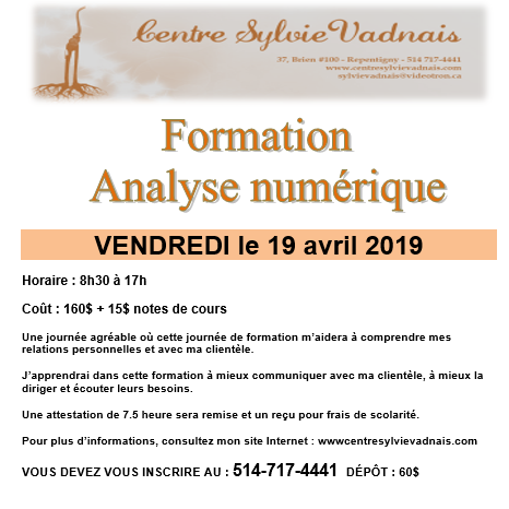Formation Analyse Numérique - Centre Sylvie Vadnais