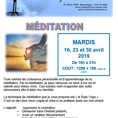 Méditation - Centre Sylvie Vadnais