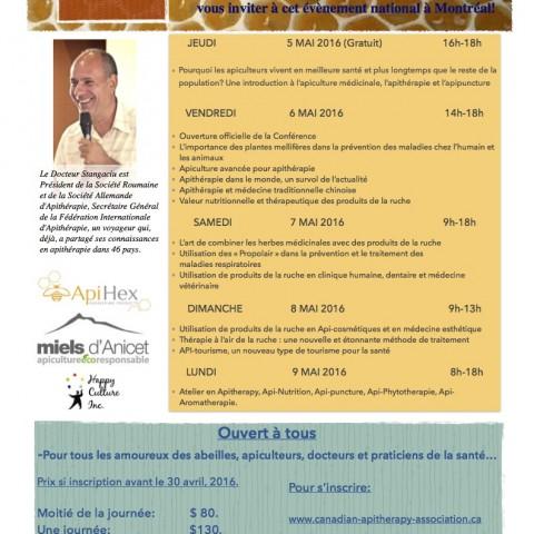 Conférences sur l'Apithérapie avec le Dr Stefan Stangaciu, à Montréal.